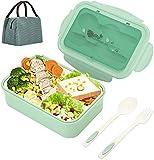 Caja de Bento Caja de Almuerzo 1400 ml con 3 Compartimentos y Cubiertos Tenedor y Cuchara Verde para...