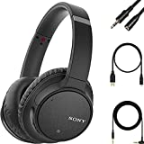 Sony - WH-CH700N Wireless Noise Cancelling Over-The-Ear Bluetooth Built-in Microphone Artificial Intelligence Noise Cancelation Rotating earcups stereophony Headphones - Black + Audio Extension