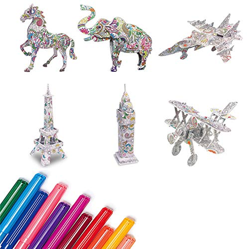 STKASE 3D Coloring Puzzle Set Arts And Crafts for Kids Boys Girls Toys, Educational 3D Coloring Puzzle Gifts for 5-12 Years Old Girl Boy Birthday Gift