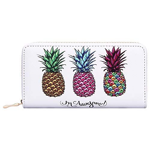Kukoo Women Leather Long Zipper Wallet Pineapple Print Designer Clutch Purse Credit Card Holder