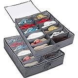 TUAKIMCE 2 Pcs Organizador Zapatos debajo Cama 2 Pcs, para 24 Pares de Zapatos, Almacenaje Zapatos bajo Cama y Organizar...