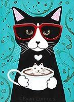 数字によるDIYデジタル絵画キット漫画黒と白の猫キャンバス上の数字による新しいペイント大人と子供の誕生日 40×50cm