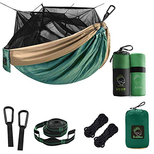 Grassman Double Portable Camping Hammock with Bug Net Bundle with Microfiber Fast Drying Camping Towel, 39''x71''