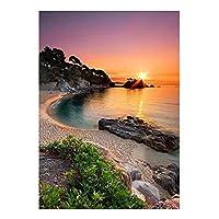 大人のための5Dダイヤモンド絵画キットDiyダイヤモンド絵画サンセットビーチクロスステッチキット刺繡風景海モザイクラインストーン写真家の装飾40x50cm