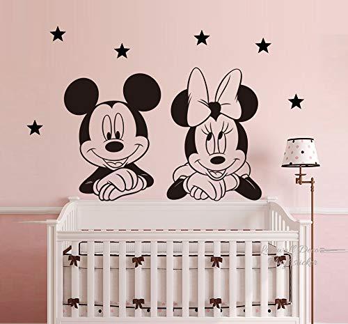 Mickey Mouse Minnie Mouse Estrellas Disney Pegatina de pared Mural Arte deco Decoración del hogar Mural Decoración Calcomanías Cuarto del bebé