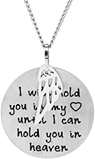 Eve's Addiction Custom Stainless Steel Hold You in My Heart Bereavement Pendant w/Angel Wing (18