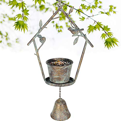 Kimdio Hanging Bird Feeder Tray Bell Seed Tray for Bird Feeders, Outdoor Garden Backyard Decorative Great for Attracting Pet Hummingbird Feeder with 3.5 inch(Dia)
