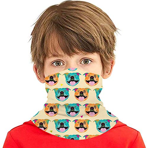 Pañuelo multiusos para niños y niñas, protección UV, para el cuello, pasamontañas para verano, ciclismo, senderismo, deportes al aire libre, feliz, color crema