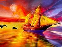 Rui-SyダイヤモンドペインティングキットダイヤモンドスクエアペインティングDiy5Dフルダイヤモンドアート大人の子供用クリスタルクラフト、家族の寝室の壁の装飾ギフトに使用 帆船