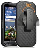 Nakedcellphone Case with Clip Compatible with Kyocera Duraforce Pro 2 Phone, [Black Tread] Slim Ribbed Kickstand Cover with [Rotating/Ratchet] Belt Hip Holster Combo for E6910/E6920