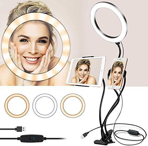 KLAS REMO Anello Luminoso LED 20cm Lampada Anulare Regolabile con 3 Modalita` di Illuminazione e 10 Livelli di Luminosità con 2 Supporti Flessibili pe
