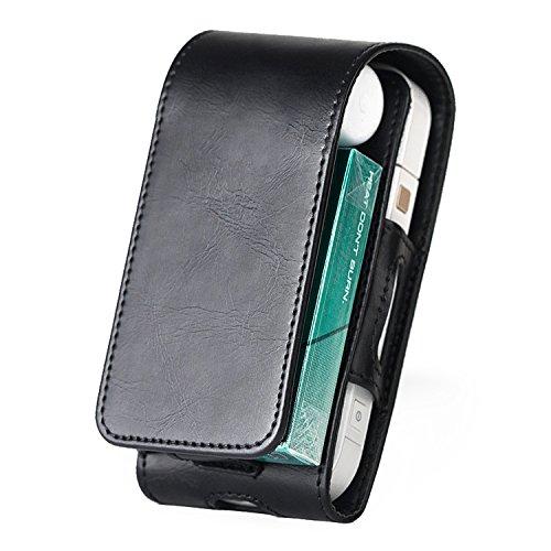Kuty Tasche für Elektronische iQOS 2.4 - Zigarette, Schutzhülle/Halterung, Platz für Geldbeutel, aus Kunstleder, mit Kartenhalter, Magnetabdeckung, Dunkelblau