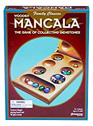 A box with a wooden mancala game in it