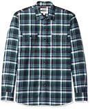 Amazon-Marke: Goodthreads Herren-Shirt, normale Passform, kariert, Twill, Blau (Navy Green Plaid Nav), US S (EU S)