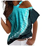 Elesoon Camiseta de verano para mujer, talla grande, con hombros descubiertos y rayas étnicas bohemias de manga corta, cuello halter, A-azul cielo, 50