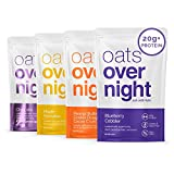 Oats Overnight Oatmeal - 8 Pack x 2.5oz+, 20g Protein - Variety Pack - 100% Whole Grain, Rolled Oats, Vegan, Dairy-Free, Pea Protein, High Fiber, Low Sugar, Gluten-Free, Non-GMO