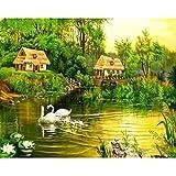 ECMQS DIY Pintar por números para Adultos niños – Paisaje Rural 40 x 50 cm Lino Lona – DIY Pintura al óleo (Marco)