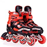Toy Island Adjustable Inline Skates Front Wheels Light up Fun Illuminating Roller Skates for All Boys and Girls in-line Alloy Skates Roller Unisex (10 to 25 Years) (Red)