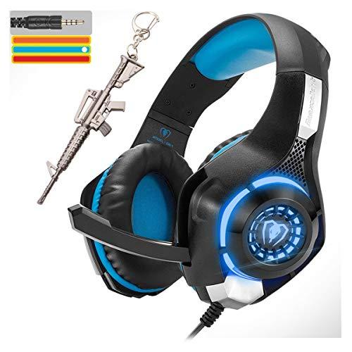 Auriculares estéreo para videojuegos para PS4 Xbox One PC, 3,5 mm con cable de auriculares con micrófono, luz LED y almohadillas de espuma viscoelástica, control de volumen y...