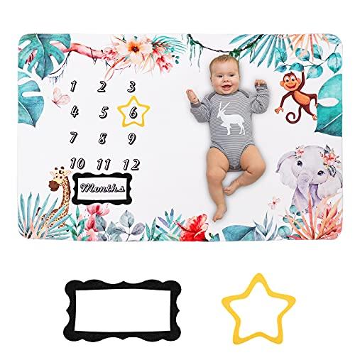 HALOVIE Coperta Mesi Neonato Coperta Milestone in Flanella per Foto Sfondo Fotografia Neonato Regalo per Baby Shower 150 x 100 cm
