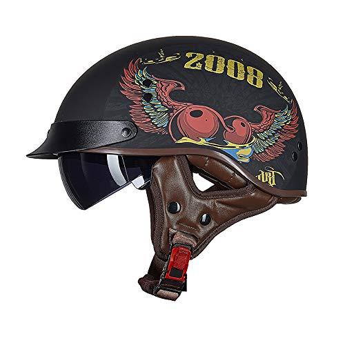 Xwenx Casco de motocicleta con protector solar para hombres y mujeres, medio casco Harley de perfil bajo Beanie Retro casco para verano con gafas de sol, M
