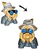 Unbekannt Jäger / Opa mit Hut, Vogel & Fernglas - als  Spanner am Gartenzaun  - incl. Namen - große XL Figur - aus Kunstharz - Gartenzwerg / Gartendeko Garten - Nachb..