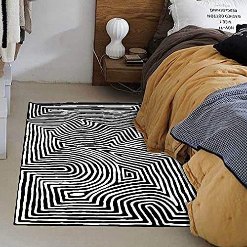 Alfombras y tapetes para la Sala de Estar Moderno Abstracto Negro Blanco Curva geométrica Estilo nórdico Alfombras de área para Habitaciones de niños Dormitorio Alfombra de Piso de Noche