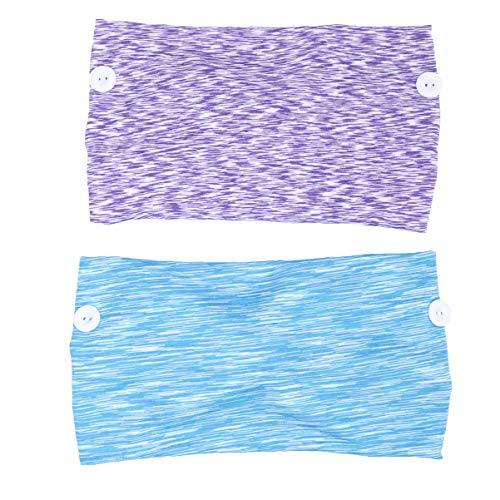 Pixnor 2 Pcs Bouton Yoga Bandeau Respirant Bandana Tête Écharpe Élastique Oreille Protecteur Visage Couverture Titulaire Bandeau pour Femmes Hommes Violet Blanc Bleu Blanc