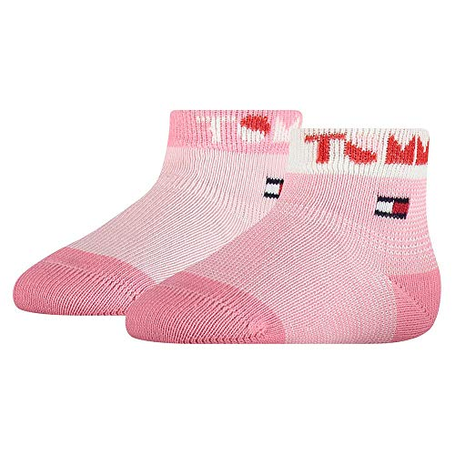 Tommy Hilfiger Baby-Girls Tommy Wording (2 Pack) Socks, pink Combo, 15/18