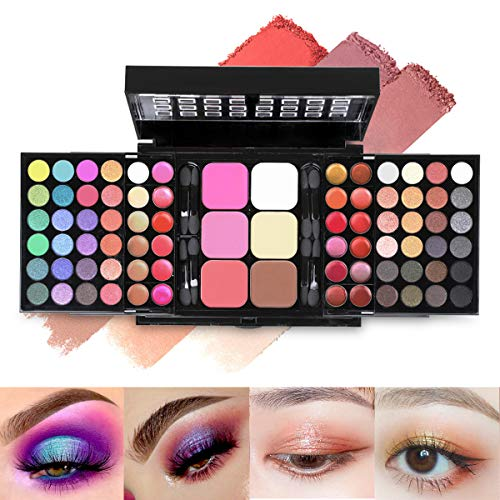 78 Colors Cosmetic Make up Palette Set Kit Combination with Eyeshadows Lip Gloss Blusher Concealer Highlight powder,All-in-One Makeup Kit with Mirror