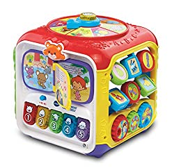 BABY'S FIRST LEARNING ACTIVITY CUBE: This entertaining baby toy with 5 interactive sides is full of activities that will stimulate and encourage your little one's early learning. It is perfect for kids development and for hours of fun play! EDUCATION...
