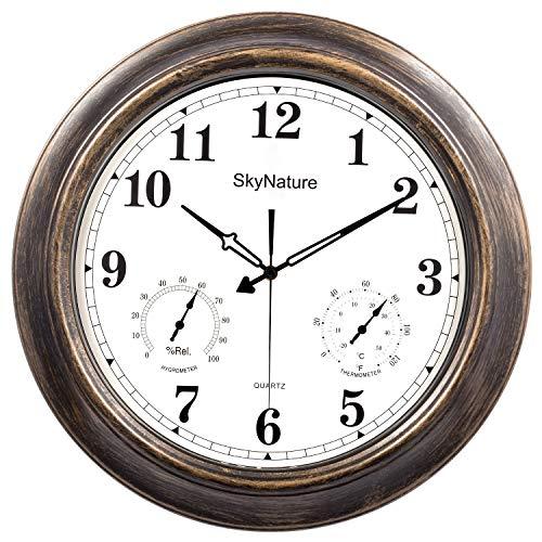 SkyNature Draussen Garten Wanduhr, 45 cm Wetterfest Metall Wanduhr mit Thermometer und Hygrometer, Leise Batteriebetriebene Dekorative Uhr für Zaun, Terrasse, Pool und Zuhause - Bronzefarben