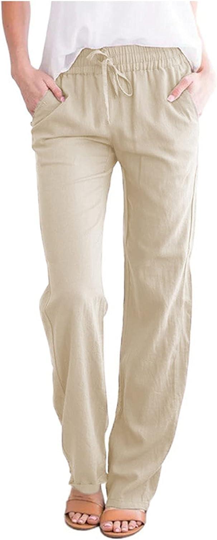 Women's Casual Drawstring Elastic Waist Baggy Cotton Linen Pants Comfy Loose Wide Leg Pants Plus Size Trousers with Pocket