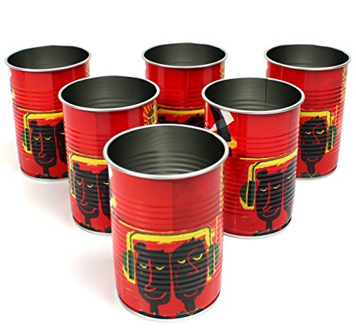6er Set HAVANA CLUB Tin Cup RED Trinkdose Konservendose Havanna Trinkbecher ~mn 452 0944