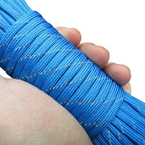 ZZH Corde Réfléchissante en Nylon en Plein Air Artisanat Corde De Parachute De 31 Mètres Corde De Tente De Camping Cordon pour Extérieur Explorer, Bleu