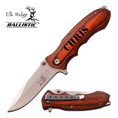 Elk Ridge Free Engraving - Quality Pakkawood Handle Folding Knife (Silver, ER-A160SW)