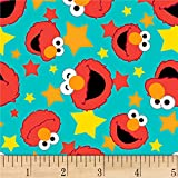 EXCLUSIVE Sesame Street Digital Tossed Elmo Faces, Aqua, Fabric by the Yard