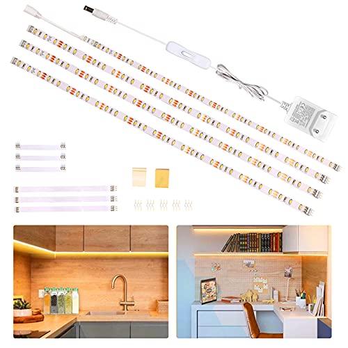 Wobsion LED Unterbauleuchte Schrankleuchte,Heller led Lichtleiste mit Schalter,LED Küche unter Schrankbeleuchtung,für Regale,Vitrinen,küchenlicht 12V Adapter 1100 LM 2700K 2m warmweiß,4er Set