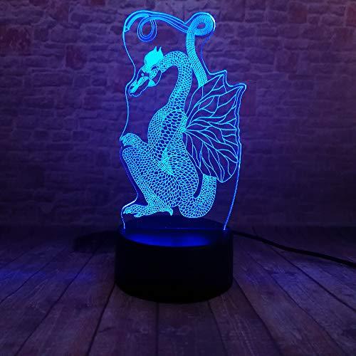 Optisch Illusie 3D Vliegende Draak Nachtlampje 7 Kleuren Veranderende USB Power Touch Schakelaar Decor Lamp LED Tafel Bureau Lamp voor Kinderen, Kerstversiering, Verjaardagscadeau, Slapende Lamp