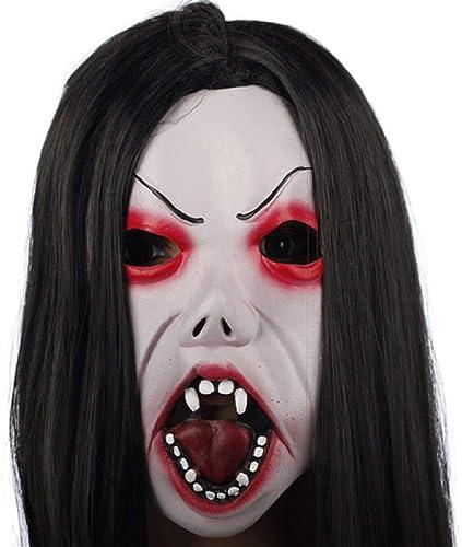 NUOKAI Halloween-Maske Horror Kopfbedeckungen Geist furchterregende M er und Frauen Geist Gesicht Maskerade D n Latex Clown Maske, brünett Augenbrauen