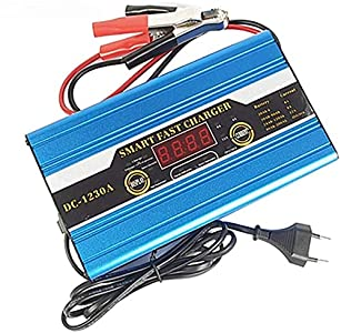 LIDER-Cargador de Batería Coche y Moto 10A 12V Súper Nuevo Diseño Mantenimiénto Automático Controlado por Micro Procesador Inteligente con Pantalla LCD con Múltiples Funciones