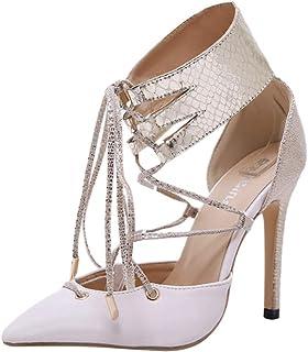 7d3a36684006ae HLIYY Escarpins Femme Vintage Eté Talon Haut Strass Chaussures Sandales  Soirée Mariage La Mode Estivale Aiguille
