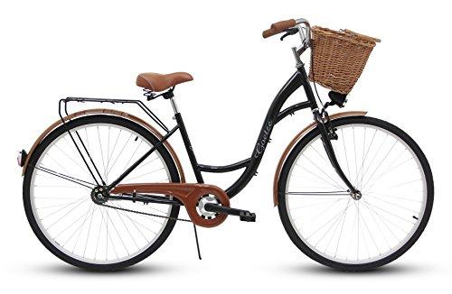 Goetze Eco Vintage Citybike Hollandrad Damenfahrrad Stahl Gestell Tiefeinsteiger 26 Zoll Alu Räder mit Rücktrittbremsen 1 Gang ohne Schaltung Weiden Korb Inklusiv!