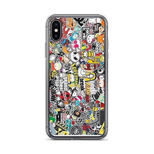 Compatibile con iPhone 12/12 Pro Max 12 mini 11 Pro Max SE X XS Max XR 8 7 6 6s Plus Custodie-Sticker Bomb Custodie per telefoni trasparenti con protezione antiurto