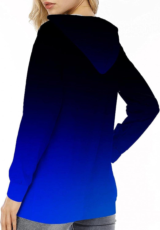 INNOVIERA Women's Hoodie Tops Stripe Printed Sweatshirt Long Sleeve Pullover Loose Hooded Tunic Shirts Hoodies for Women