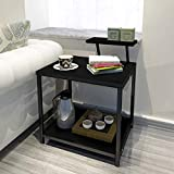 Jerry & Maggie - Nightstands Modern Style W Desktop Shelf Hollow Shelves Steel Frame & Wood Surface Panel 2 Tier Racks Space Saver Design - Bed Side Table | Ending Table Nightstand Shelves Black