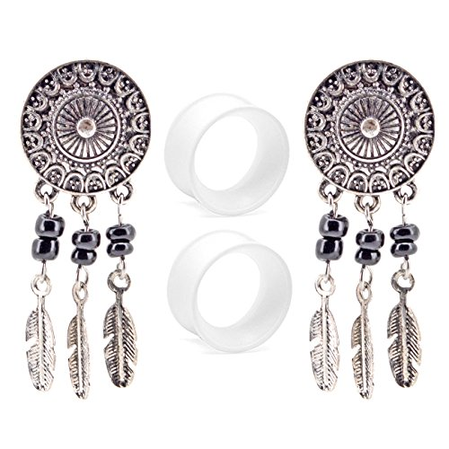 OUFER Body Jewelry Stainless Steel Dream Catcher Dangle Double Flared Plug with Clear Silicone Ear Stretcher Piercing (00G=10mm)