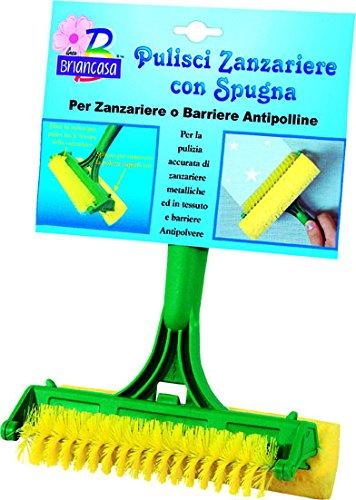 Briancasa ATT02290A Attrezzo Puliscizanzariere con Spugna, Giallo/Verde, 15.5x10x25 cm