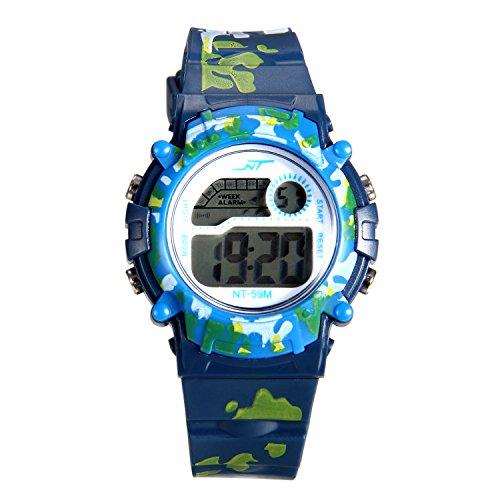 Lancardo 子供腕時計 キッズ スポーツウォッチ ストップウォッチ 男の子 防水 デジタル アラーム 日付 曜日 学生 プレセット 誕生日 記念日 子供の日 ブルー