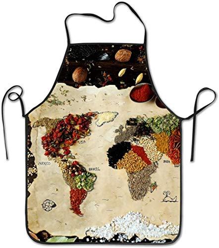 MODORSAN Delantal con peto ajustable Spices Map - Delantales de cocina lavables unisex para chef